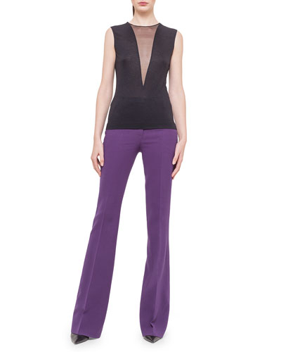Jewel-Neck Tulle V-Inset Top
