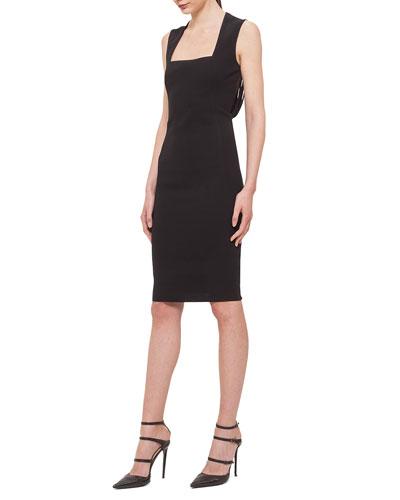 Sliced-Back Square-Neck Sheath Dress