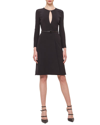 Marquis Keyhole Belted Dress