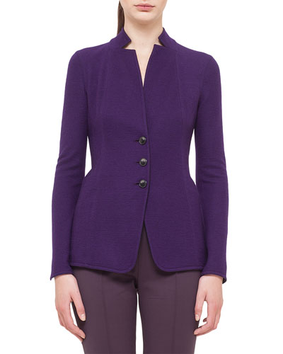 Cashmere-Blend Jersey Reversible Button Jacket