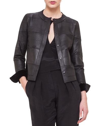 Reversible Sheared Mink Fur & Leather Jacket