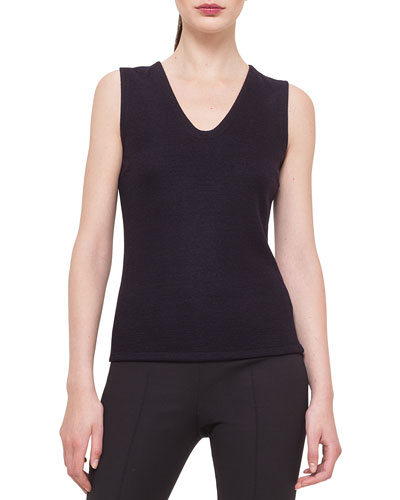 Bicolor Reversible Cashmere-Blend Jersey Top, Clematis/Black