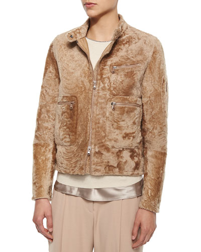 Shearling Fur Bomber Jacket, Toffee