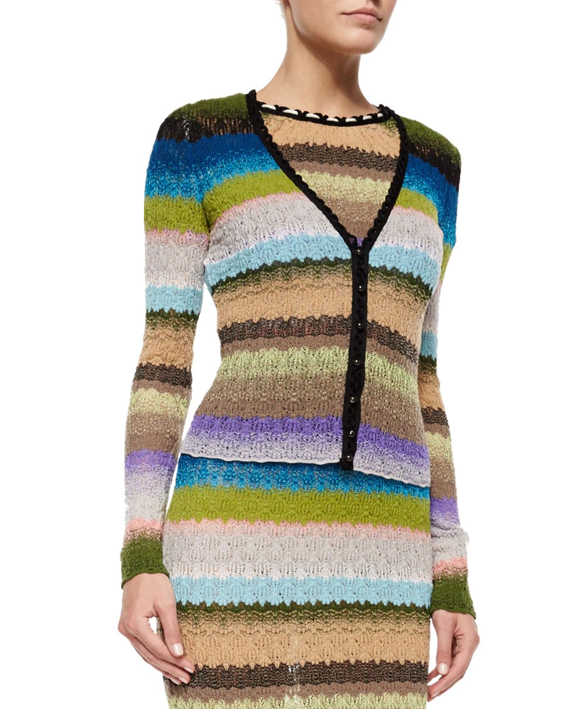 V-Neck Striped Cardigan, Blue Multi