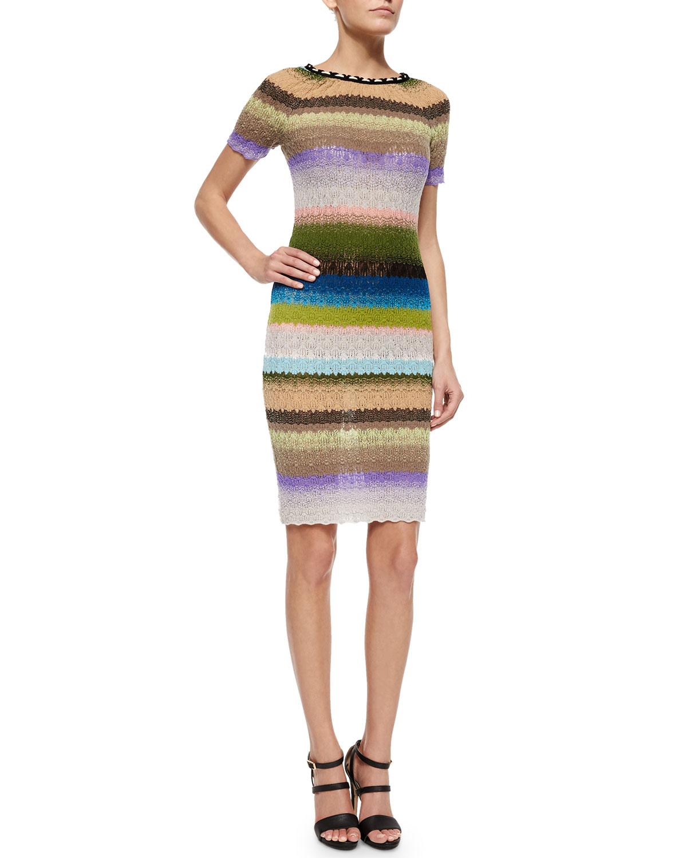 Pickstitched-Neckline Striped Dress