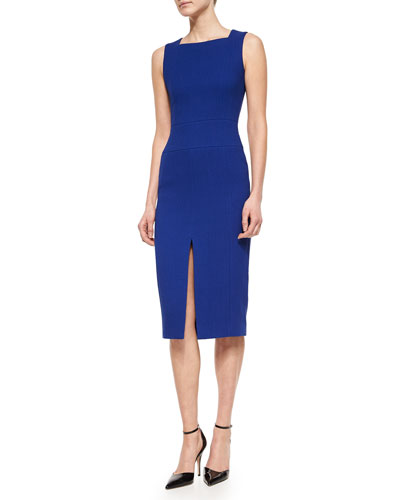 Slit-Front Square-Neck Sheath Dress