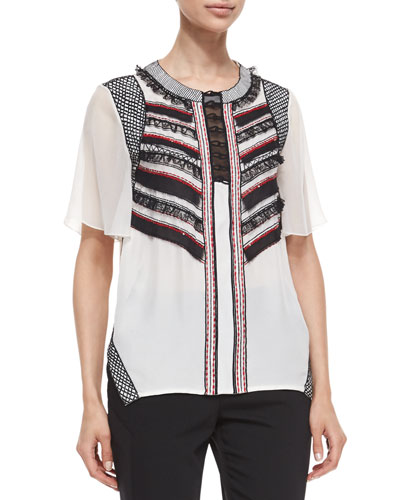 Sequined Striped Ruffle-Front Blouse