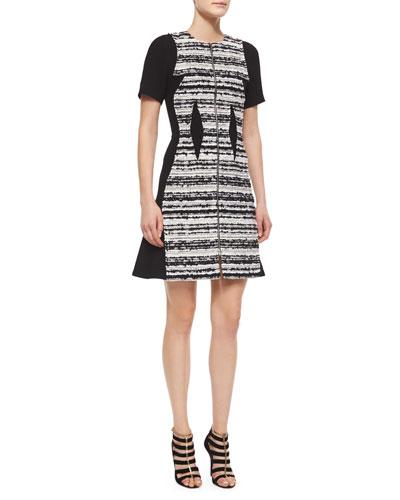 Striped Tweed Paneled Dress
