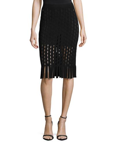 Pencil Skirt W/Slit and Fringe Detail, Nocturnal Black
