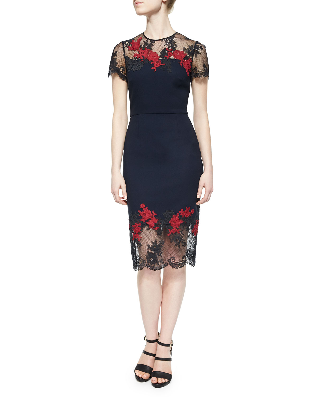 Keni Floral-Embroidered Lace-Trimmed Dress