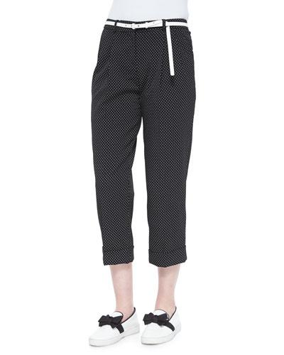 Pindot-Pattern Slouchy Capri Trousers