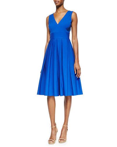 V-Neck Pleated Poplin Dress