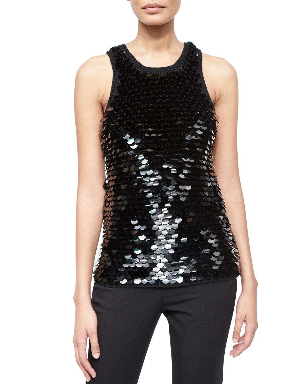 Sequined Crochet-Trim Knit Tank
