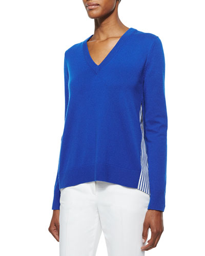 Cashmere V-Neck Sweater w/Striped Underlay, Cobalt