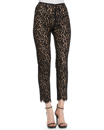 Floral-Lace Skinny Pants