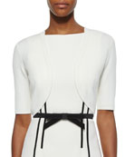Merino Cropped Shrug, White