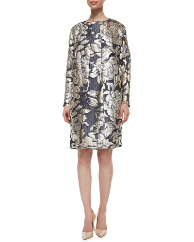 Floral Metallic Fil Coupe Floral Topper Coat, Gold/Black