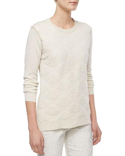 Textured Crewneck Sweater, Ivory