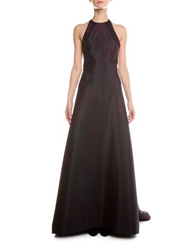 Crisscross Open-Back Halter Gown, Plum