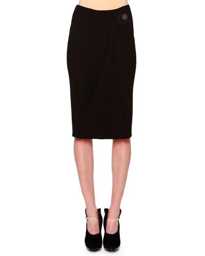 Side-Draped Buckle-Detailed Skirt