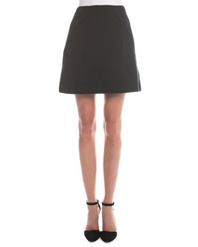 Fold-Detailed A-Line Skirt