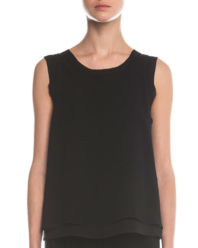 Sleeveless Layered Combo Blouse, Black