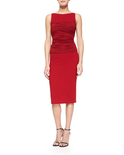 Sleeveless Ruched-Bodice Shift Dress, Dark Cherry