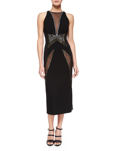V-Neck Mesh-Insert Sheath Dress, Black