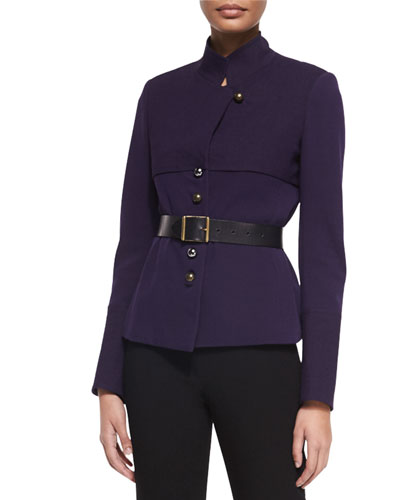 Long-Sleeve Belted Trench Jacket, Dark Purple