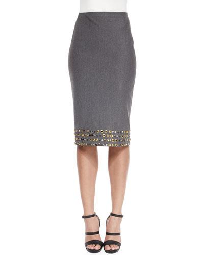 High-Waist Embellished Pencil Skirt, Flannel