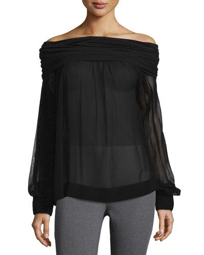 Long-Sleeve Off-the-Shoulder Blouse, Black