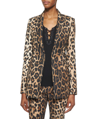 Leopard-Print Side Lace-Up Blazer