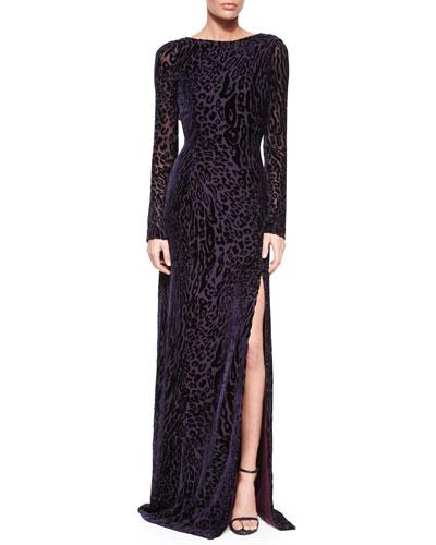 Velvet Leopard-Print V-Back Gown