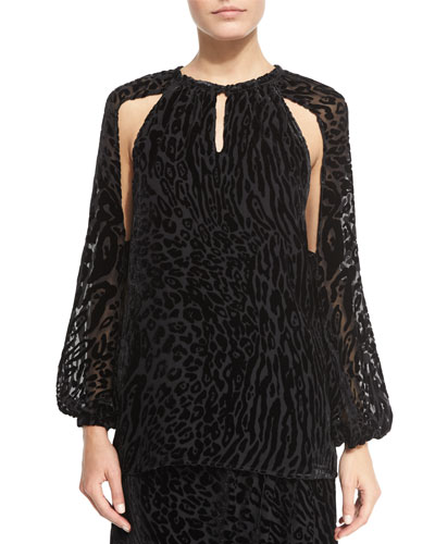 Leopard-Print Split-Sleeve Blouse, Black