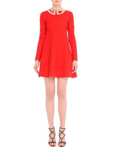 Long-Sleeve Lace-Collar Babydoll Dress