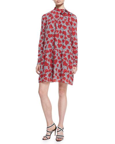 Bow-Neck Daisy Hearts-Print Shift Dress