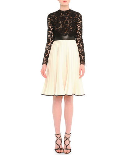 Sheer Lace Plisse Fit-And-Flare Dress