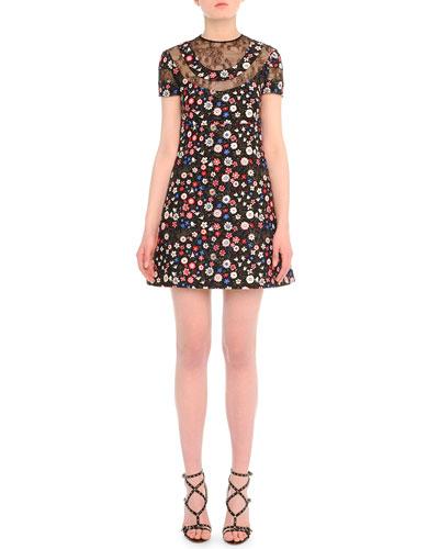Lace-Inset Floral-Print Babydoll Dress