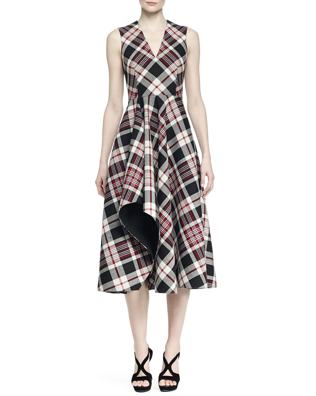 Ruffled Plaid Midi Dress