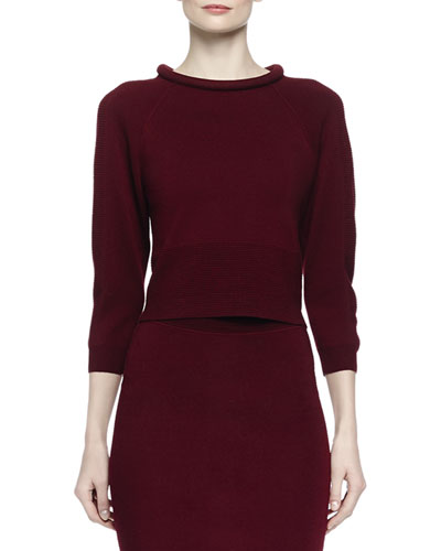Rolled-Collar Knit Top, Bordeaux