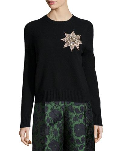 Brooch-Embellished Knit Sweater