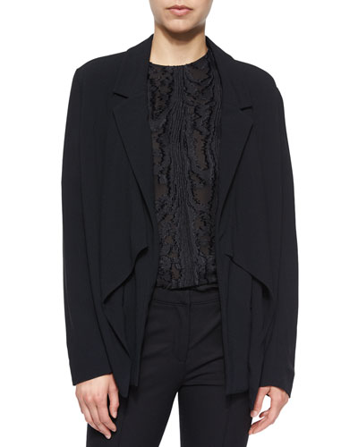 Draped Open-Front Crepe Cardigan