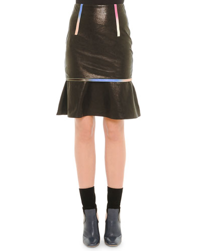 Leather Iridescent-Trim Skirt, Black