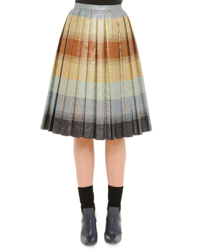 Pleated Degrade Shimmer Skirt, Beige Multi