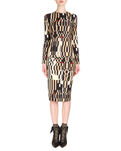 Long-Sleeve Optical Illusion-Print Sheath Dress