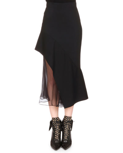 Chiffon-Inset Asymmetric Ruffled Skirt