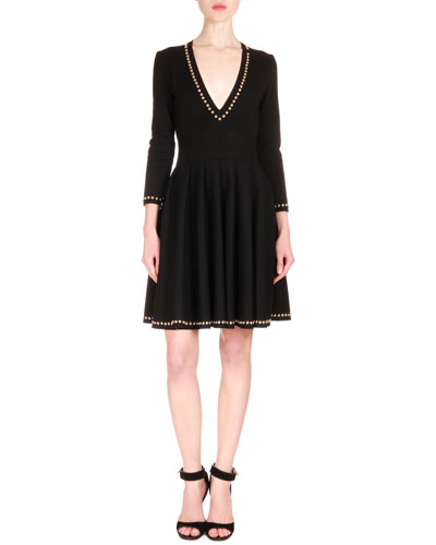 Stud Embellished Dress, Black