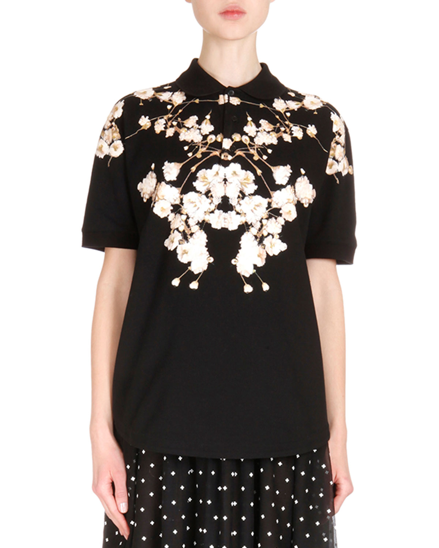 Short Sleeve Floral-Print Polo Shirt, Black