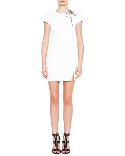 Lace-Up Shoulder Mini Dress