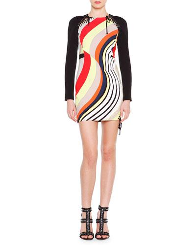 Long-Sleeve Colorblock Mini Dress